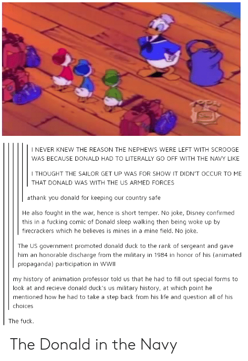 honorable: I NEVER KNEW THE REASON THE NEPHEWS WERE LEFT WITH SCROOGE  WAS BECAUSE DONALD HAD TO LITERALLY GO OFF WITH THE NAVY LIKE  I THOUGHT THE SAILOR GET UP WAS FOR SHOW IT DIDN'T OCCUR TO ME  THAT DONALD WAS WITH THE US ARMED FORCES  #thank you donald for keeping our country safe  He also fought in the war, hence is short temper. No joke, Disney confirmed  firecrackers which he believes is mines in a mine field. No joke.  this in a fucking comic of Donald sleep walking then being woke up by  The US government promoted donald duck to the rank of sergeant and gave  him an honorable discharge from the military in 1984 in honor of his (animated  propaganda) participation in WWII  my history of animation professor told us that he had to fill out special forms to  look at and recieve donald duck's us military history, at which point he  mentioned how he had to take a step back from his life and question all of his  choices  The fuck The Donald in the Navy