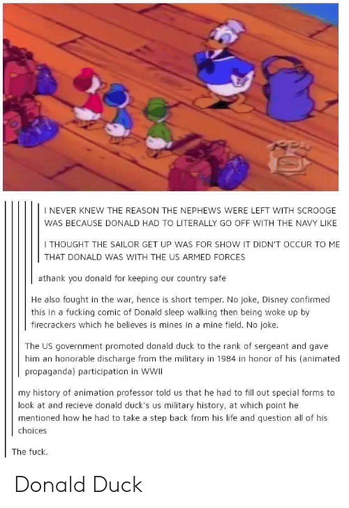 military history: I NEVER KNEW THE REASON THE NEPHEWS WERE LEFT WITH SCROOGE  WAS BECAUSE DONALD HAD TO LITERALLY GO OFF WITH THE NAVY LIKE  I THOUGHT THE SAILOR GET UP WAS FOR SHOW IT DIDN'T OCCUR TO ME  THAT DONALD WAS WITH THE US ARMED FORCES  #thank you donald for keeping our country safe  He also fought in the war, hence is short temper. No joke, Disney confirmed  this in a fucking comic of Donald sleep walking then being woke up by  firecrackers which he believes is mines in a mine field. No joke.  The US government promoted donald duck to the rank of sergeant and gave  him an honorable discharge from the military in 1984 in honor of his (animated  propaganda) participation in WWII  my history of animation professor told us that he had to fill out special forms to  look at and recieve donald duck's us military history, at which point he  mentioned how he had to take a step back from his life and question all of his  choices  The fuck Donald Duck