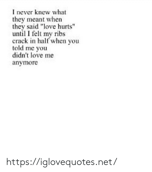 """love me: I never knew what  they meant when  they said """"love hurts""""  until I felt my ribs  crack in half when you  told me you  didn't love me  anymore https://iglovequotes.net/"""