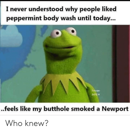 body wash: I never understood why people liked  peppermint body wash until today...  Sausa  2019  ..feels like my butthole smoked a Newport Who knew?