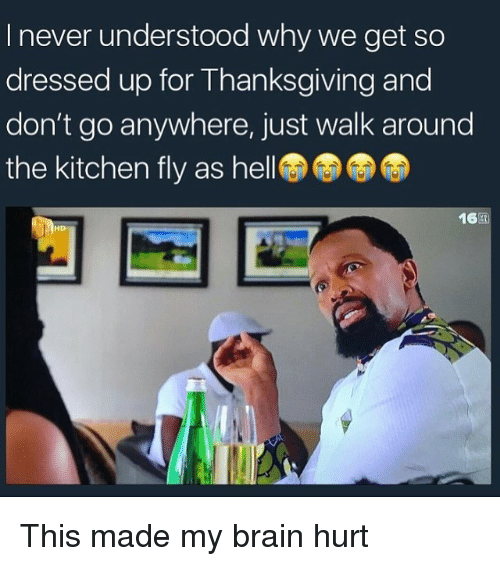 Thanksgiving, Brain, and Never: I never understood why we get so  dressed up for Thanksgiving and  don't go anywhere, just walk around  the kitchen fly as hel  16困  HD This made my brain hurt