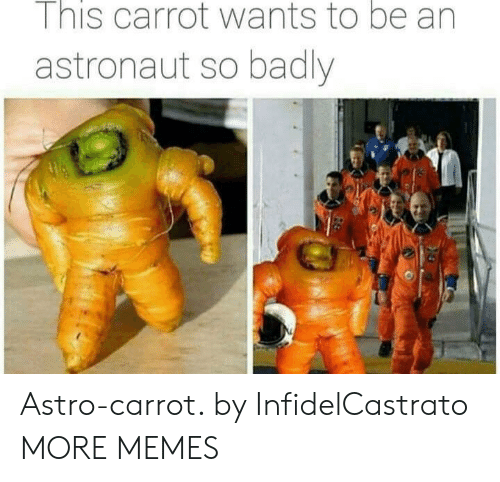 astro: I nis carrot wants to be an  astronaut so badly Astro-carrot. by InfidelCastrato MORE MEMES