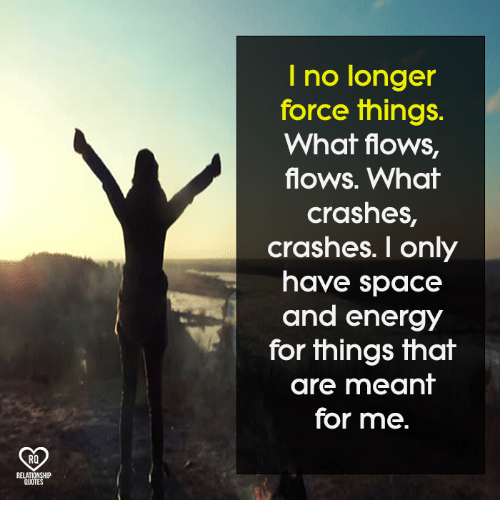Energy, Memes, and Space: I no longer  force things.  What flows,  flows. What  crashes,  crashes. I only  have space  and energy  for things that  are meant  for me.  RO  QUO