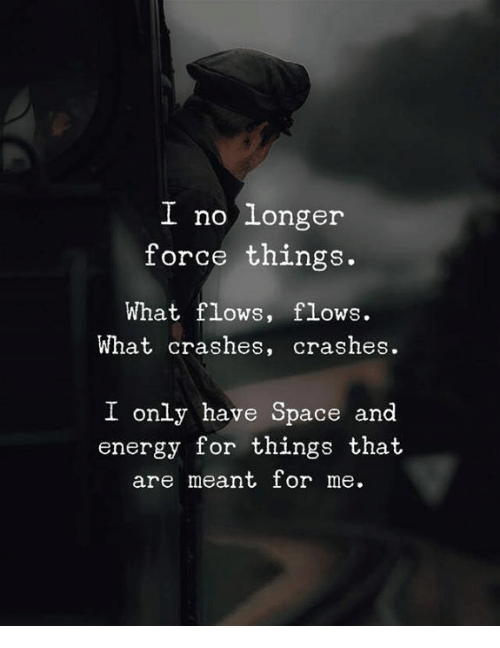 Energy, Space, and Force: I no longer  force things  What flows, flows.  What crashes, crashes.  I only have Space and  energy for things that  are meant for me.