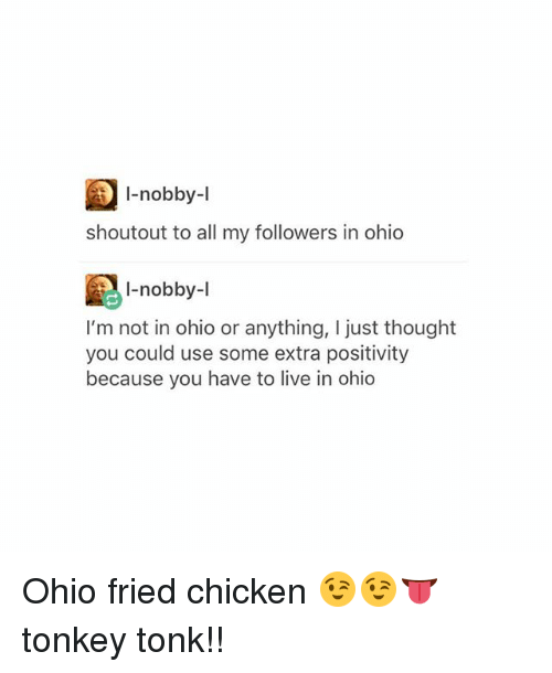 Tumblr, Chicken, and Live: I-nobby-l  shoutout to all my followers in ohio  -nobby-l  I'm not in ohio or anything, I just thought  you could use some extra positivity  because you have to live in ohio Ohio fried chicken 😉😉👅 tonkey tonk!!