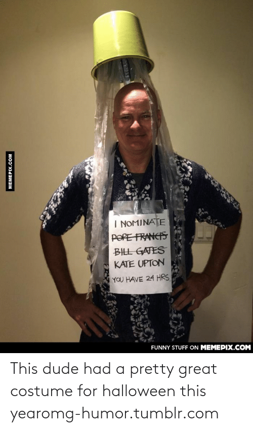 kate upton: I NOMINATE  POPE FRANCIS  BILL GATES  KATE UPTON  YOU HAVE 24 HRS  FUNNY STUFF ON MEMEPIX.COM  MEMEPIX.COM This dude had a pretty great costume for halloween this yearomg-humor.tumblr.com