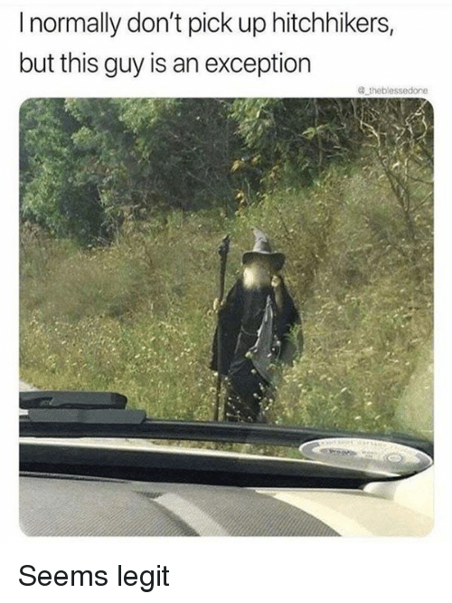 Memes, 🤖, and Legit: I normally don't pick up hitchhikers,  but this guy is an exception Seems legit