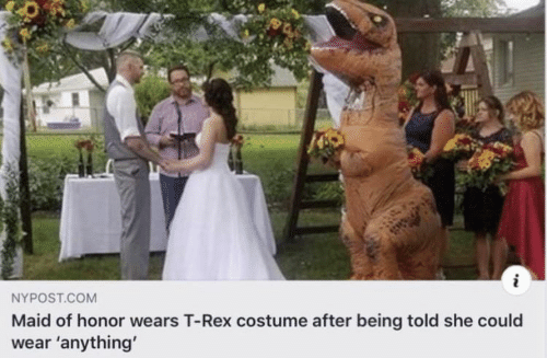 Rex: i  NYPOST.COM  Maid of honor wears T-Rex costume after being told she could  wear 'anything'