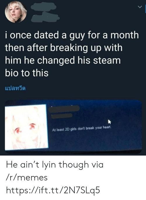 breaking up: i once dated a guy for a month  then after breaking up with  him he changed his steam  bio to this  แปลทวีต  At least 2D girls don't break your heart He ain't lyin though via /r/memes https://ift.tt/2N7SLq5