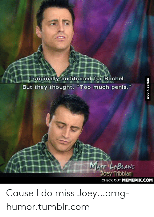 """leblanc: I originally auditioned for Rachel.  But they thought, """"Too much penis.""""  MATT LEBLANC  Joey Tribbiani  CHECK OUT MEМЕРІХ.COM  MEMEPIX.COM Cause I do miss Joey…omg-humor.tumblr.com"""