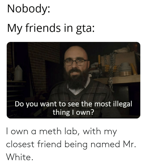 Lab: I own a meth lab, with my closest friend being named Mr. White.