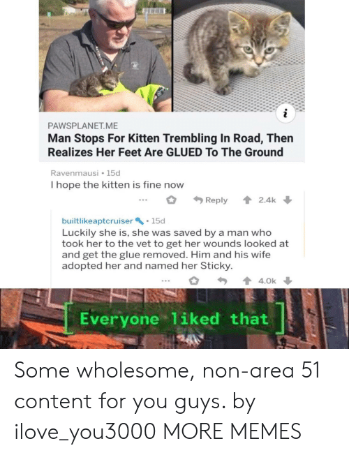 luckily: i  PAWSPLANET.ME  Man Stops For Kitten Trembling In Road, Then  Realizes Her Feet Are GLUED To The Ground  Ravenmausi 15d  I hope the kitten is fine now  2.4k  Reply  builtlikeaptcruiser 15d  Luckily she is, she was saved by a man who  took her to the vet to get her wounds looked at  and get the glue removed. Him and his wife  adopted her and named her Sticky  4.0k  Everyone 1iked that Some wholesome, non-area 51 content for you guys. by ilove_you3000 MORE MEMES