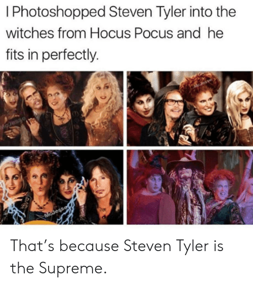 witches: I Photoshopped Steven Tyler into the  witches from Hocus Pocus and he  fits in perfectly.  Esaro  McJess That's because Steven Tyler is the Supreme.