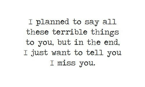 miss you: I planned to say all  these terrible things  to you, but in the end,  I just want to tell you  I miss you