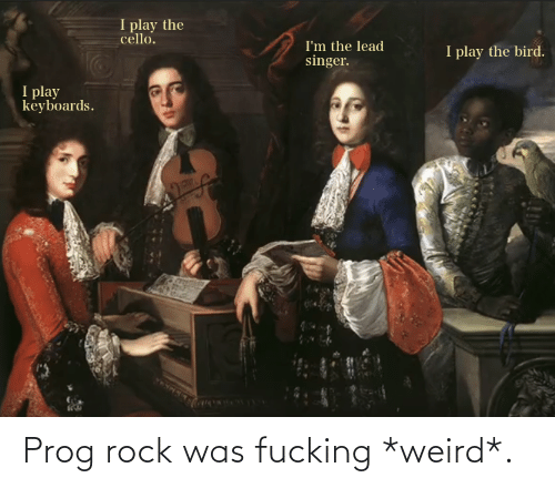 cello: I play the  cello.  I'm the lead  singer.  I play the bird.  I play  keyboards. Prog rock was fucking *weird*.