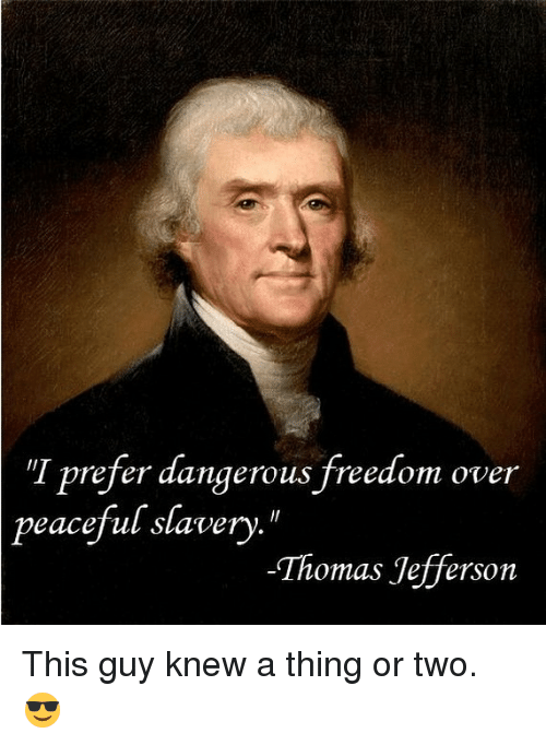 """slavery: """"I prefer dangerous freedom over  peaceful slavery.  Thomas Jefferson This guy knew a thing or two. 😎"""