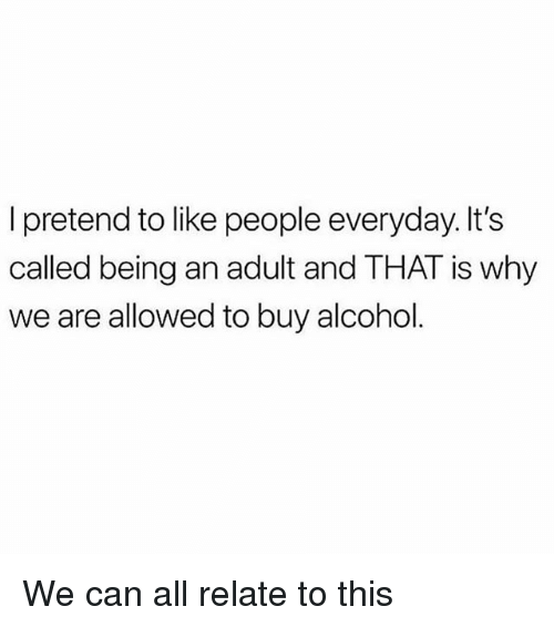 Being an Adult, Memes, and Alcohol: I pretend to like people everyday. It's  called being an adult and THAT is why  we are allowed to buy alcohol We can all relate to this