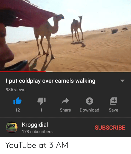 Coldplay, youtube.com, and Download: I put coldplay over camels walking  986 views  +  Share  Download  12  Save  1  Kroggidial  SUBSCRIBE  178 subscribers YouTube at 3 AM