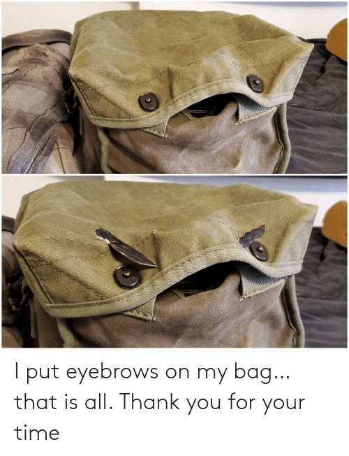 eyebrows: I put eyebrows on my bag… that is all. Thank you for your time