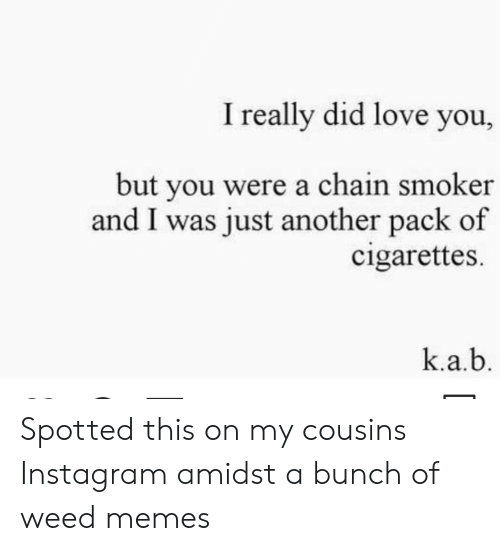 Weed Memes: I really did love you,  but you were a chain smoker  and I was just another pack of  cigarettes  k.a.b Spotted this on my cousins Instagram amidst a bunch of weed memes