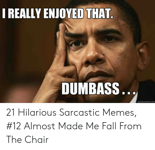 Hilarious Sarcastic: I REALLY ENJOYED THAT  DUMBASS..  quickmeme.com 21 Hilarious Sarcastic Memes, #12 Almost Made Me Fall From The Chair