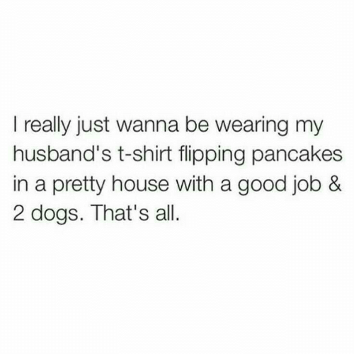 husbands: I really just wanna be wearing my  husband's t-shirt flipping pancakes  in a pretty house with a good job &  2 dogs. That's all.