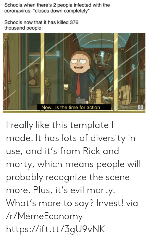 Evil: I really like this template I made. It has lots of diversity in use, and it's from Rick and morty, which means people will probably recognize the scene more. Plus, it's evil morty. What's more to say? Invest! via /r/MemeEconomy https://ift.tt/3gU9vNK