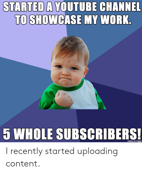 Content: I recently started uploading content.