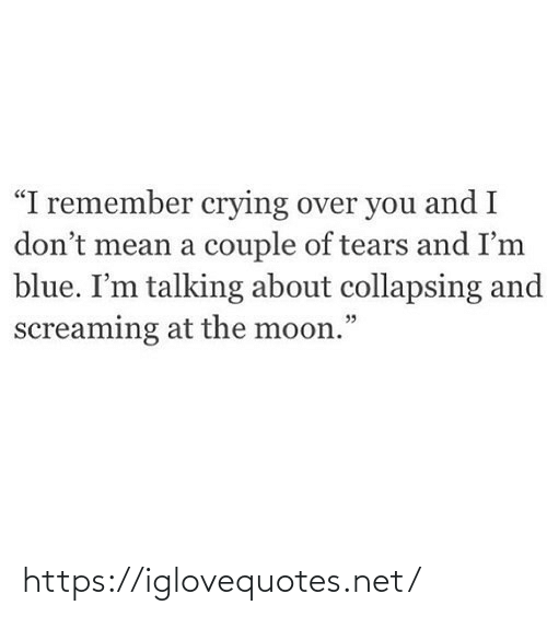 "i remember: ""I remember crying over you and I  don't mean a couple of tears and I'm  blue. I'm talking about collapsing and  screaming at the moon."" https://iglovequotes.net/"