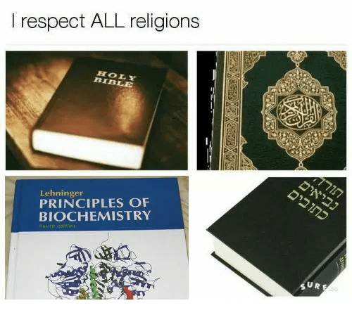 Memes, Respect, and Bible: I respect ALL religions  HOLY  BIBLE  Lehninger  PRINCIPLES OF  BIOCHEMISTRY  ぶ。  U R