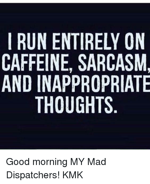Inappropriate Good Morning Meme : I run entirely on caffeine sarcasm and inappropriate