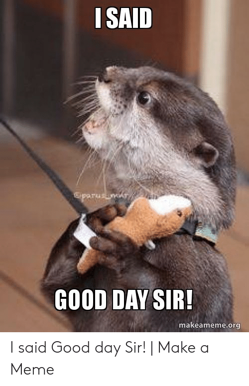 I Said Good Day Meme: I SAID  parusin  GOOD DAY SIR!  makeameme.org I said Good day Sir! | Make a Meme