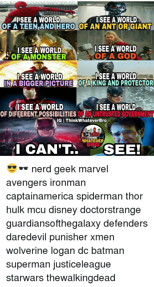 Memes, Hulk, and Daredevil: I SEE A WORLD  SEE A WORLD  OF A TEEN AND HERO OF AN ANTOR GIANT  I SEE A WORLD  I SEE A WORLD  OF A GOD  OF MONSTER  I SEE A WORLD  I SEE A WORLD  INA  PICTURE OFA  KING AND PROTECTOR  I SEE A WORLD  SEE A WORLD  OF DIFFERENT POSSIBILITIES  ORANUNTRUSTED GOVERNMENT  IG ThinkWhateverBro  THINK  WHATEVER  I CAN'T  SEE! 😎🕶 nerd geek marvel avengers ironman captainamerica spiderman thor hulk mcu disney doctorstrange guardiansofthegalaxy defenders daredevil punisher xmen wolverine logan dc batman superman justiceleague starwars thewalkingdead