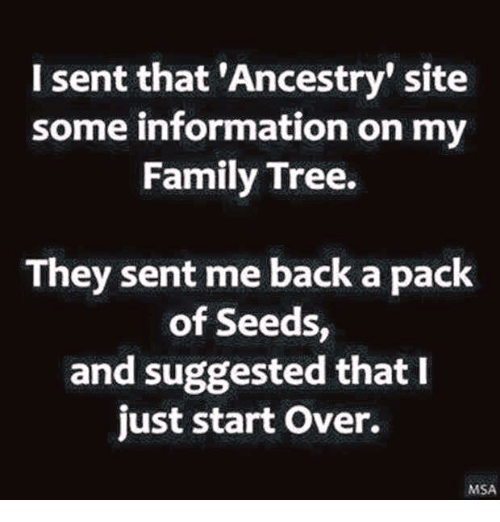 msa: I sent that 'Ancestry site  some information on my  Family Tree.  They sent me back a pack  of Seeds  and suggested that I  just start over.  MSA
