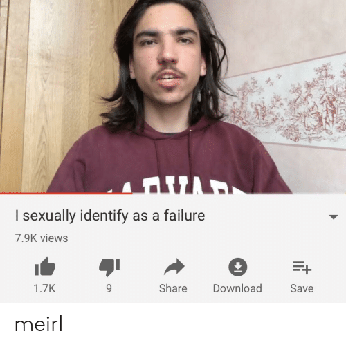 I Sexually Identify As A: I sexually identify as a failure  7.9K views  1.7K  9  Share  Download  Save meirl