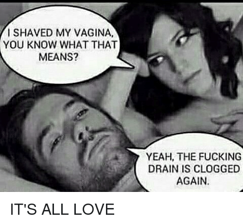 Fucking, Love, and Memes: I SHAVED MY VAGINA,  YOU KNOW WHAT THAT  MEANS?  YEAH, THE FUCKING  DRAIN IS CLOGGED  AGAIN. IT'S ALL LOVE