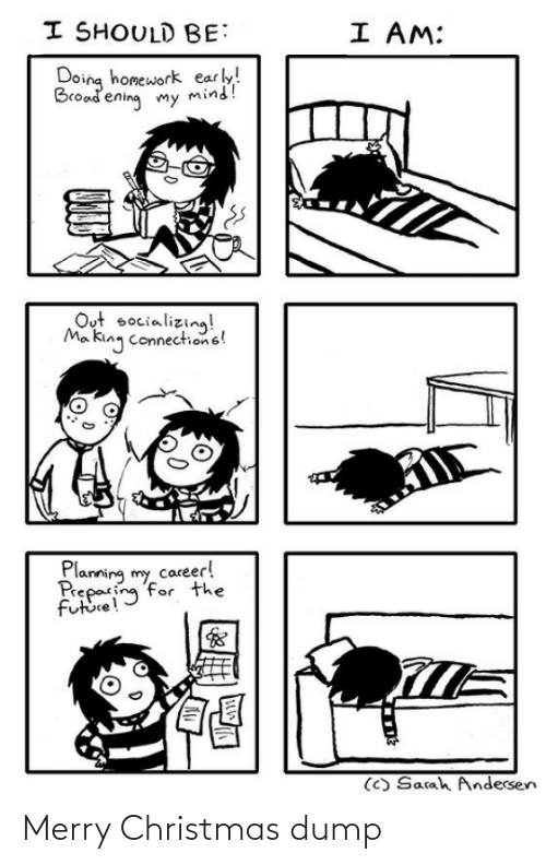 Homework: I SHOULD BE:  I AM:  Doing homework early!  Broadening my mind!  Out socializing!  Ma king connections!  Planning my career!  Preparing for the  future!  (C) Sarah Andersen Merry Christmas dump