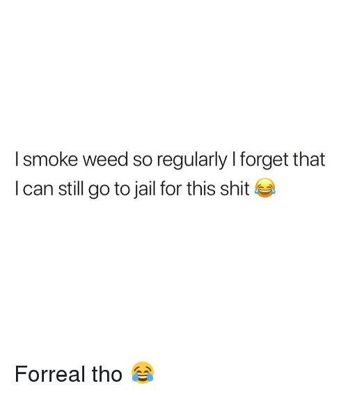 Jail, Shit, and Weed: I smoke weed so regularly I forget that  I can still go to jail for this shit Forreal tho 😂