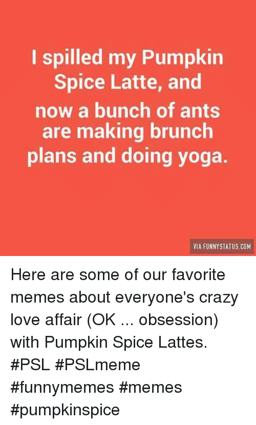 affair: I spilled my Pumpkin  Spice Latte, and  now a bunch of ants  are making brunch  plans and doing yoga  VIA FUNNYSTATUS COM Here are some of our favorite memes about everyone's crazy love affair (OK ... obsession) with Pumpkin Spice Lattes. #PSL #PSLmeme #funnymemes #memes #pumpkinspice