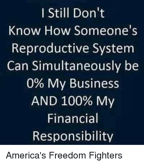 America Freedom: I Still Don't  Know How Someone's  Reproductive System  Can Simultaneously be  0% My Business  AND 100% My  Financial  Responsibility America's Freedom Fighters