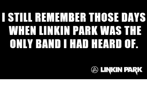 Thoses: I STILL REMEMBER THOSE DAYS  WHEN LINKIN PARK WAS THE  ONLY BAND I HAD HEARD OF.  LINKIN PARK