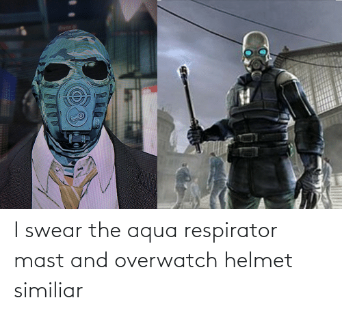 helmet: I swear the aqua respirator mast and overwatch helmet similiar