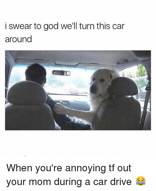 God, Memes, and Drive: i swear to god we'll turn this car  around When you're annoying tf out your mom during a car drive 😂