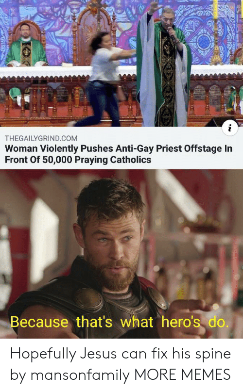 heros: i  THEGAILYGRIND.COM  Woman Violently Pushes Anti-Gay Priest Offstage In  Front Of 50,000 Praying Catholics  Because that's what hero's do. Hopefully Jesus can fix his spine by mansonfamily MORE MEMES