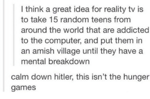 the hunger: I think a great idea for reality tv is  to take 15 random teens from  around the world that are addicted  to the computer, and put them in  an amish village until they have a  mental breakdown  calm down hitler, this isn't the hunger  games