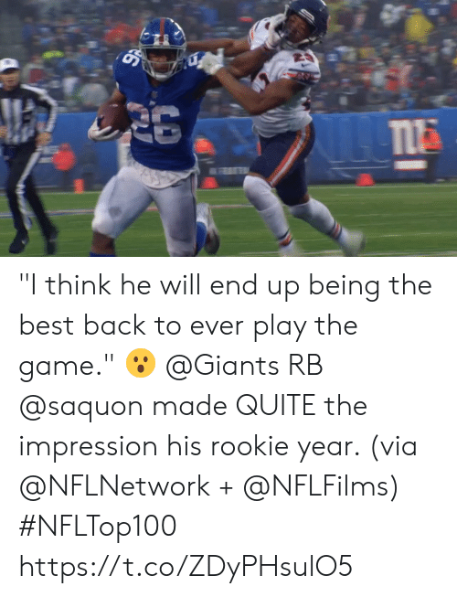 "play the game: ""I think he will end up being the best back to ever play the game."" 😮  @Giants RB @saquon made QUITE the impression his rookie year. (via @NFLNetwork + @NFLFilms) #NFLTop100 https://t.co/ZDyPHsulO5"