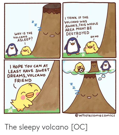 Volcano: I THINK IF THE  VOLCANO WAS  AWAKE,THIS WHOLE  AREA MIGHT BE  DESTROYED  WHY IS THE  VOLCANO  ASLEEP?  ON HO  I HOPE You CAN AT  LEAST HAVE SWEET  DREAMS,VOLCA NO  FRIEND  @wholesomecomics  0 The sleepy volcano [OC]