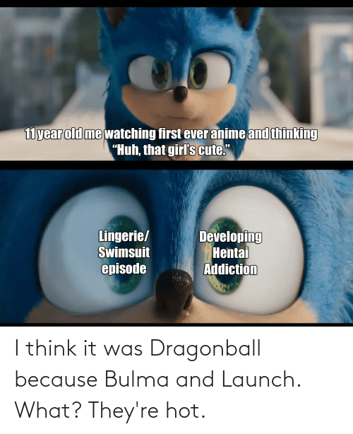 Bulma: I think it was Dragonball because Bulma and Launch. What? They're hot.