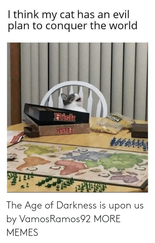 darkness: I think my cat has an evil  plan to conquer the world  Risk  Risk The Age of Darkness is upon us by VamosRamos92 MORE MEMES
