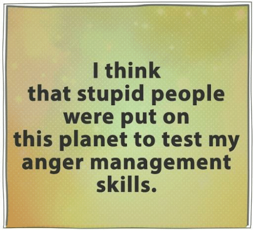 stupid people: I think  that stupid people  were put on  this planet to test my  anger management  skills.